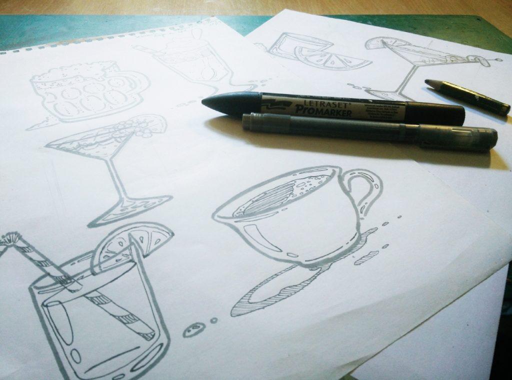 Ilustracije za podstavke Drink